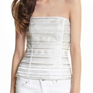 WH BM Embroidered Striped Bustier Top